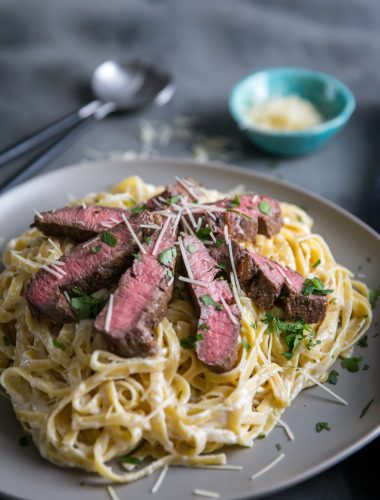 Steak Alfredo sliced steak
