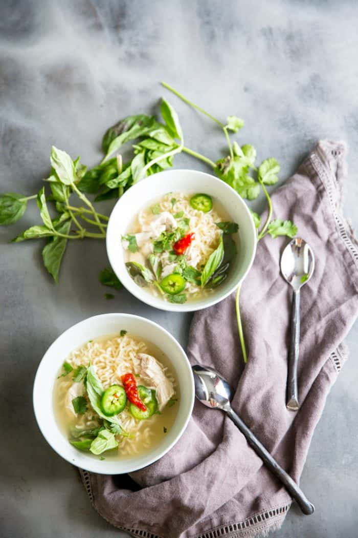 chicken pho recipe basil surrounding