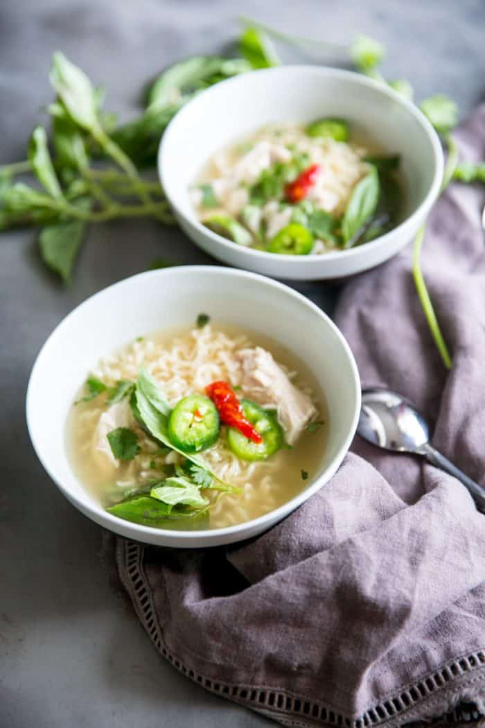 chicken pho recipe white bowls