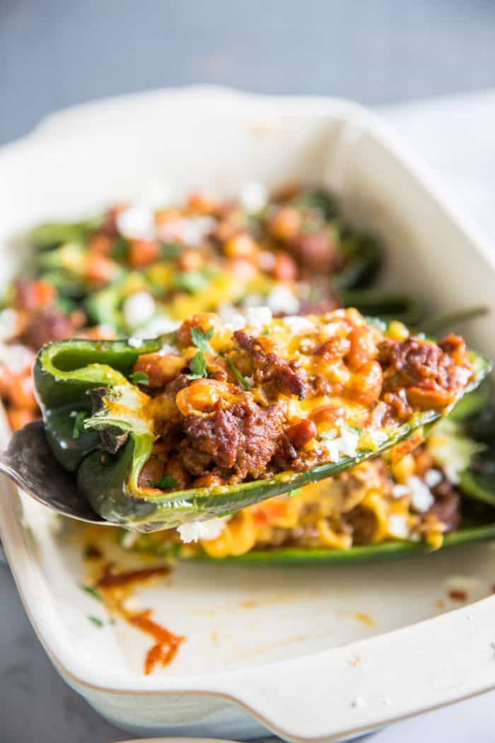 stuffed poblano pepper served