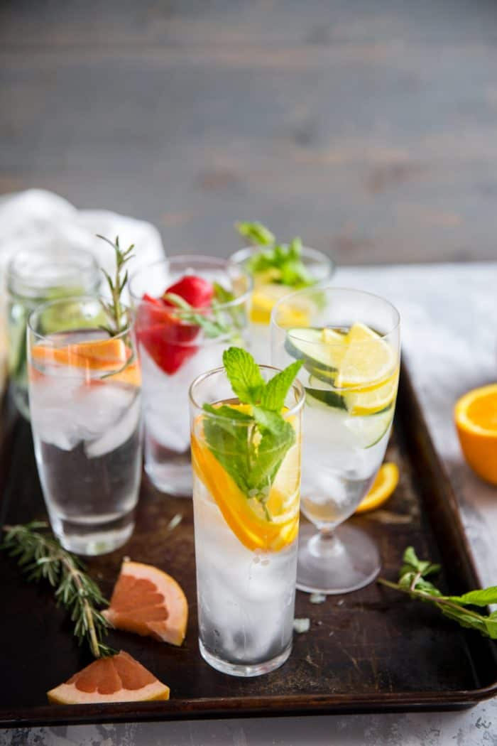 detox water glasses on a tray