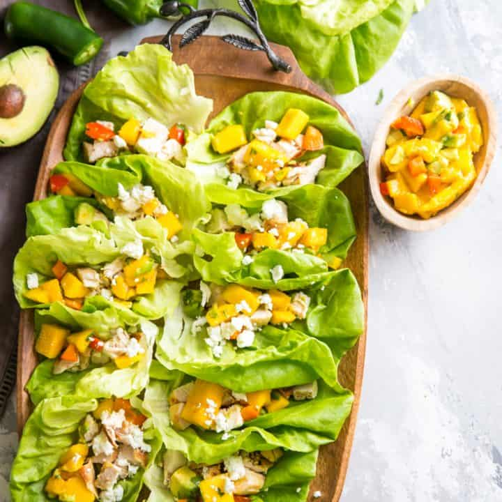 Chicken Lettuce Wraps with Mango Salsa