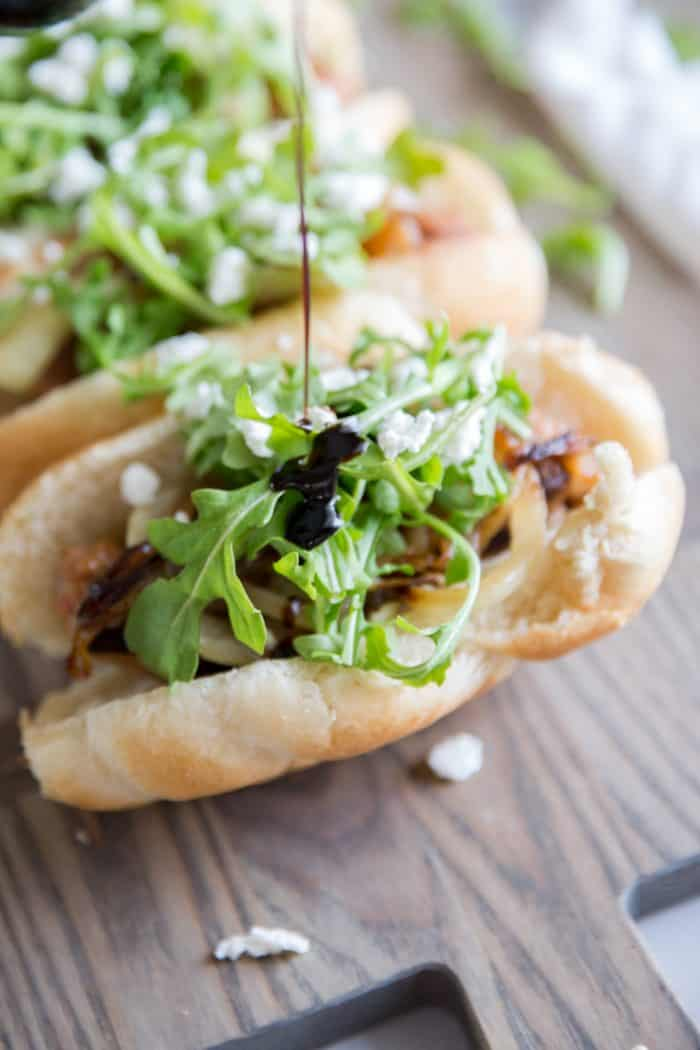 italian sausage subs with balsamic drizzle