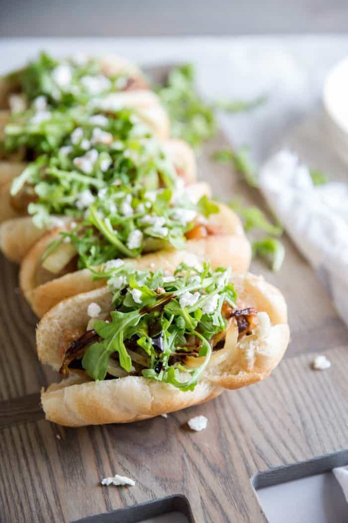 Italian Turkey Sausage subs in a row