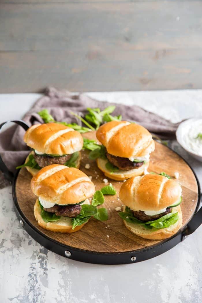 Lamb burgers on a tray