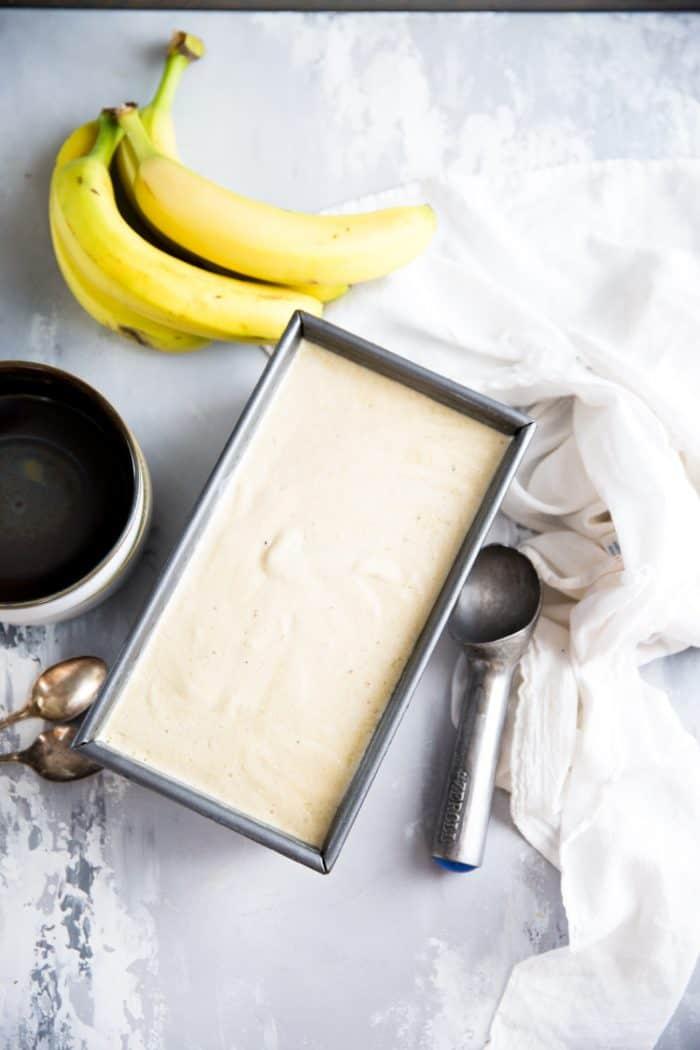 Pan of banana ice cream frozen