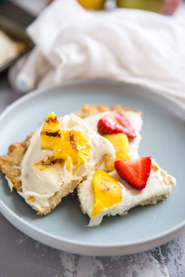 grilled fruit pizza recipe cut into squares