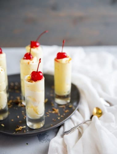 Pina Colada pudding shots with coconut