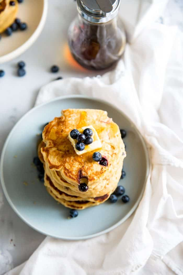 pancake recipe on blue plate