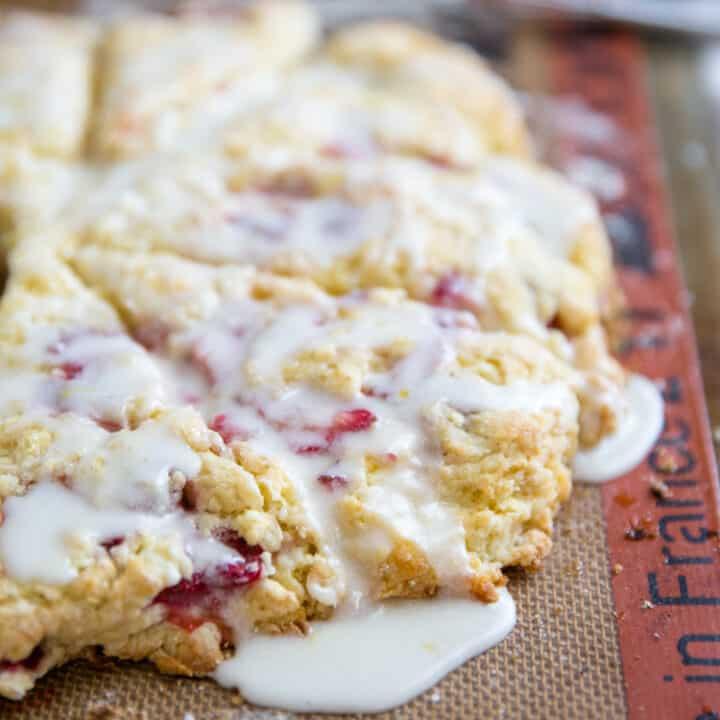 glazed strawberry scones