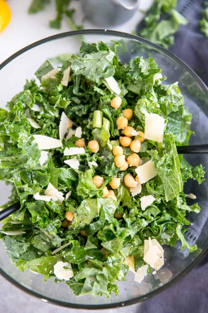 close up kale salad