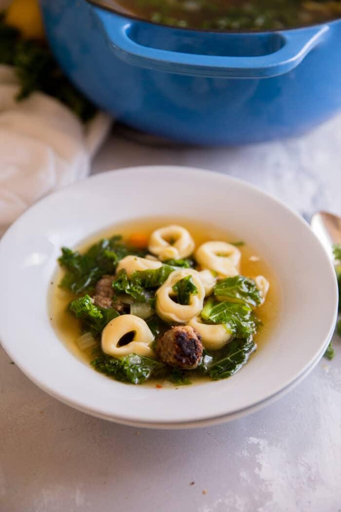 White bowl Italian Wedding Soup