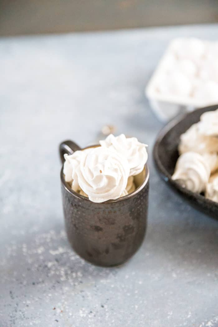 Meringue cookies in a cup