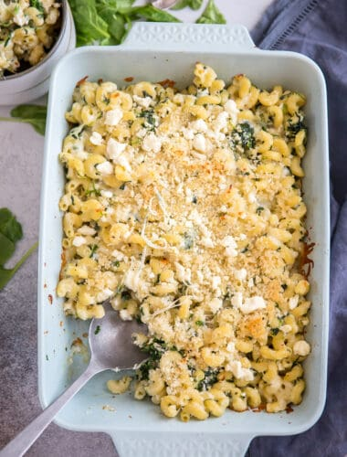 spanakopita mac and cheese blue baking dish