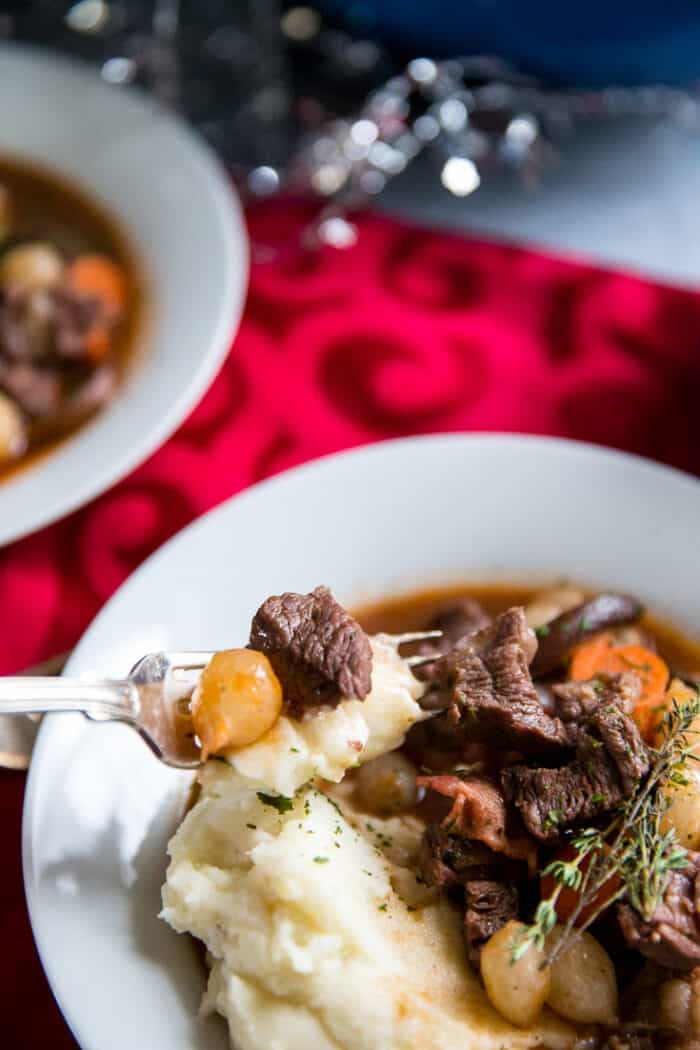 beef bourguignon fork with a bite