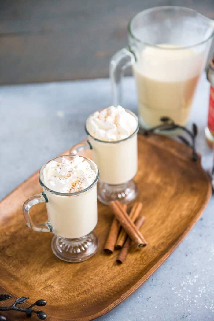 homemade eggnog recipe two glasses