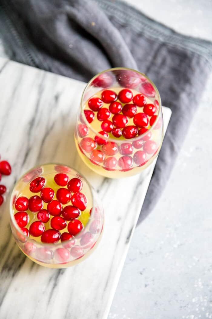 two glasses white wine sangria