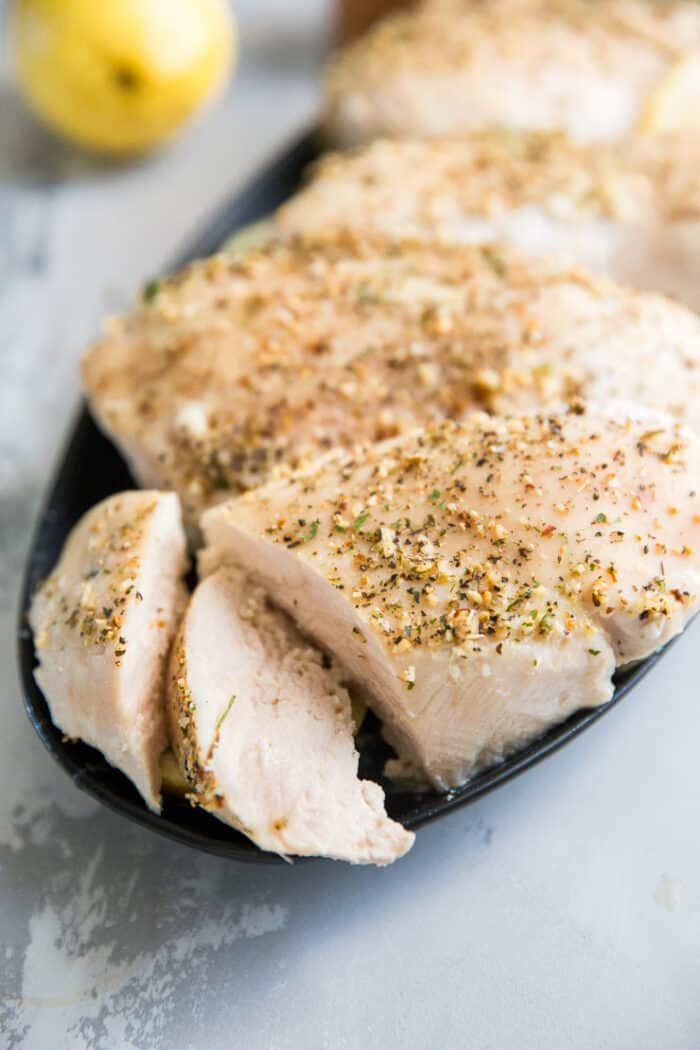 cut baked chicken
