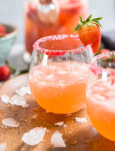 sugar rimmed strawberry margarita