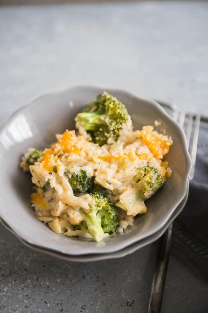 chicken broccoli casserole in a bowl