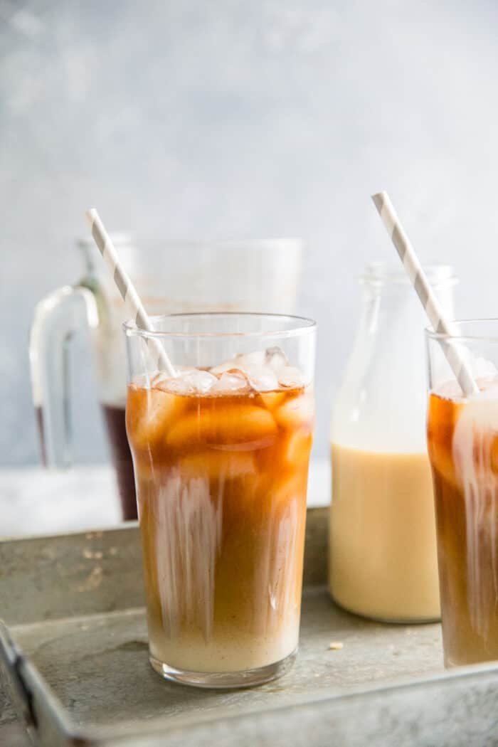 cold brew coffee recipe glass with a straw