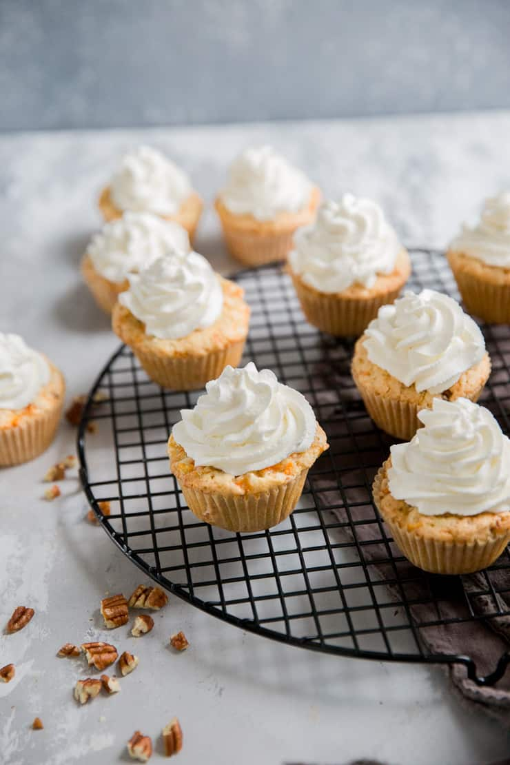 carrot cake cupcakes with whipped topping