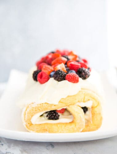 chantilly cake roll with berries