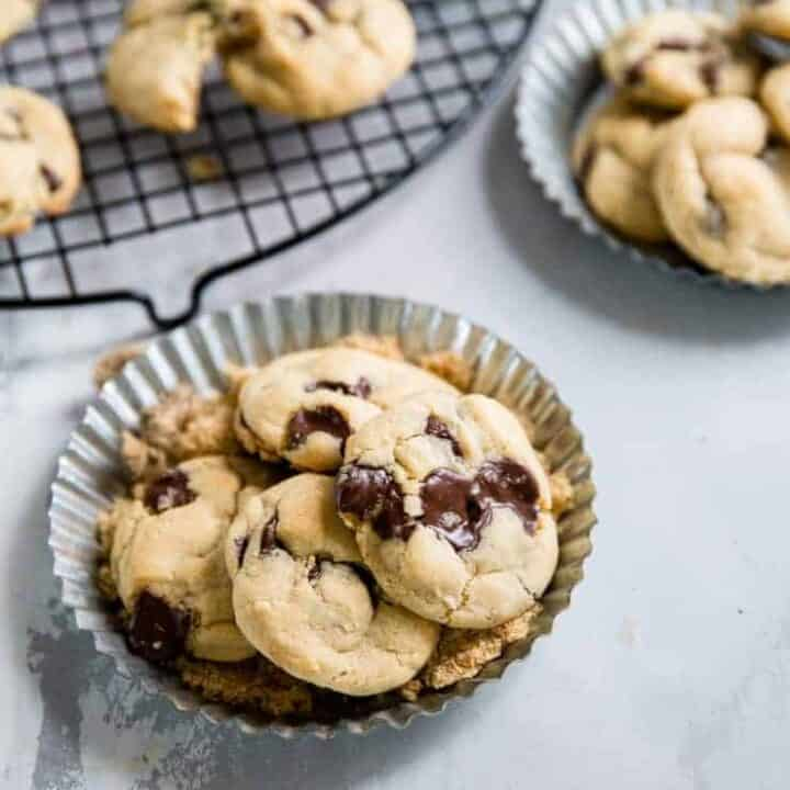 chocolate chip brown sugar cookies silver plate
