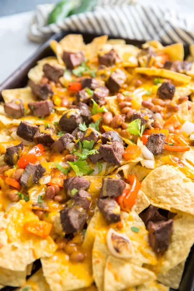 loaded fajita steak nachos
