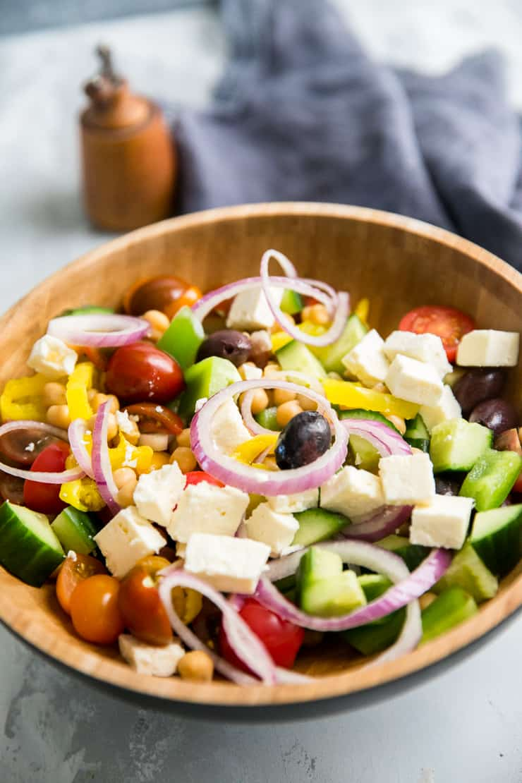 Greek salad ready to be served