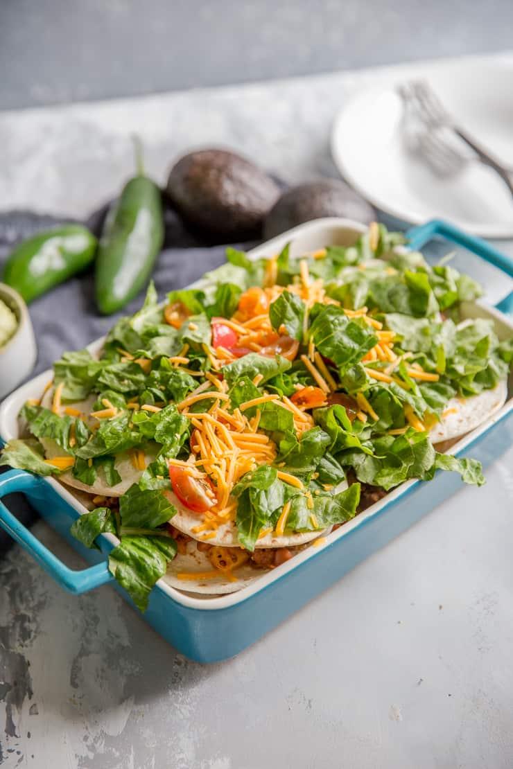 taco casserole blue baking dish