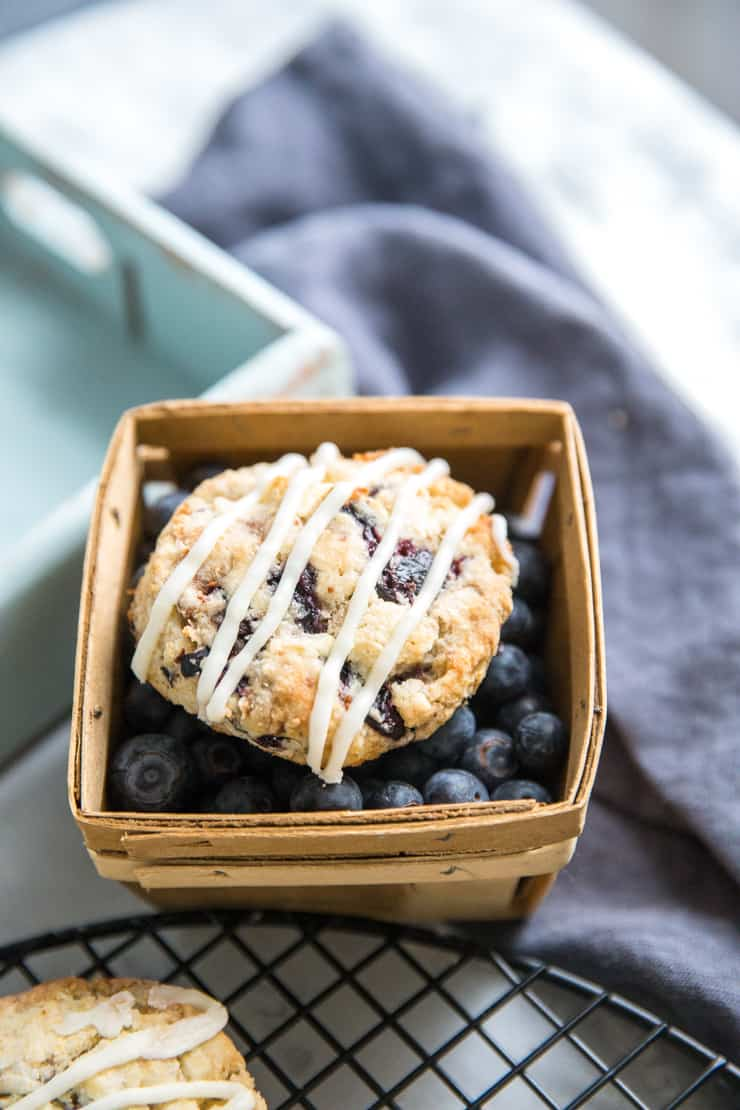 one blueberry scone with blueberries