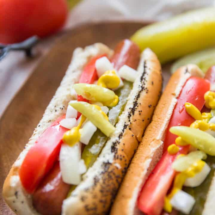 Chicago style hot dog loaded with veggies