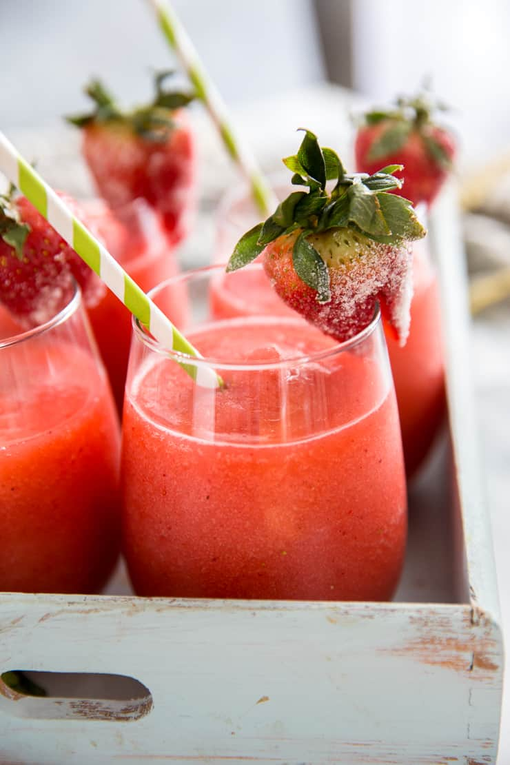 strawberry daiquiri close up