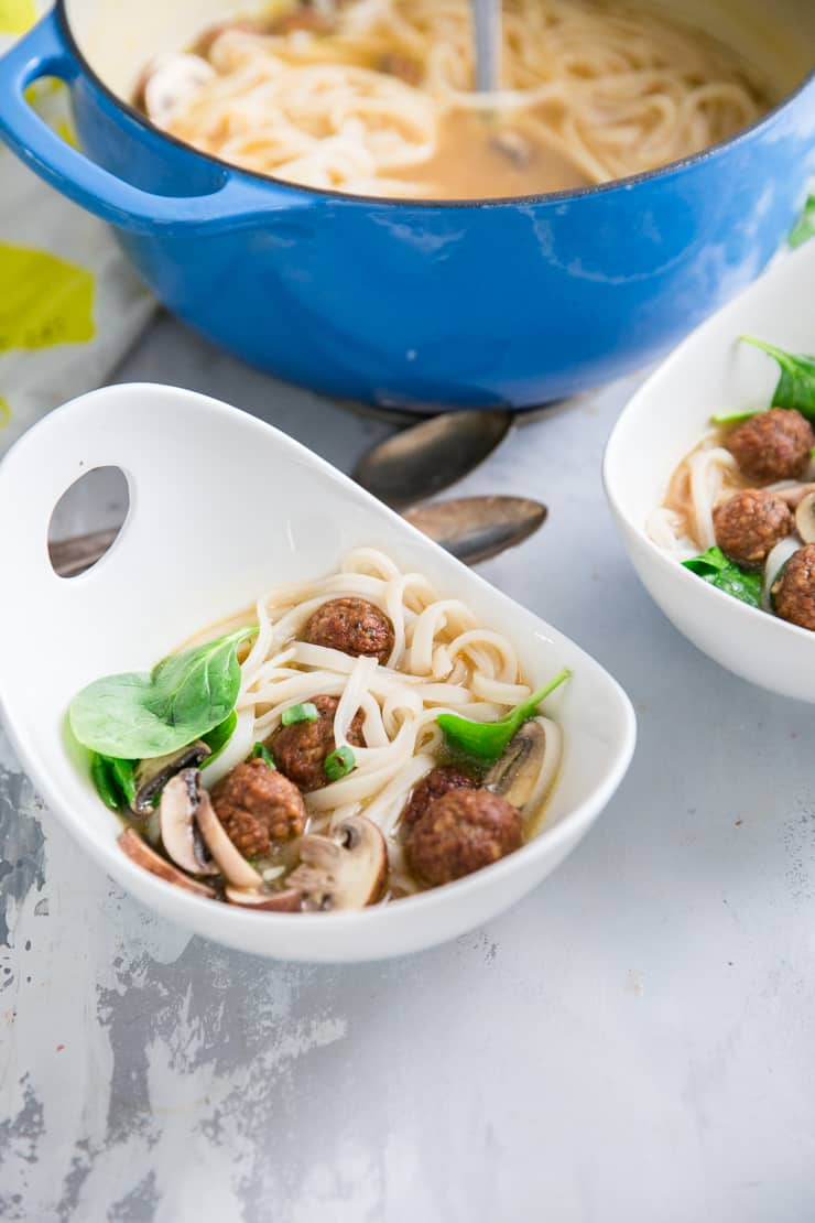 vegetarian pho in a white bowl