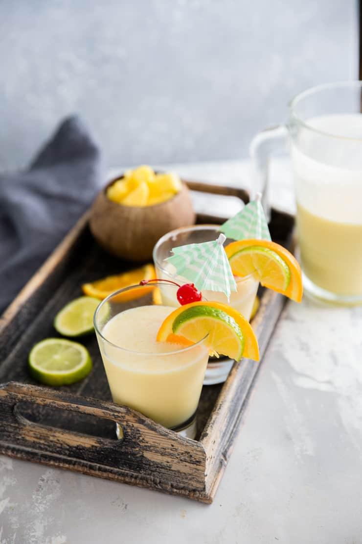 virgin pina colada with citrus slices
