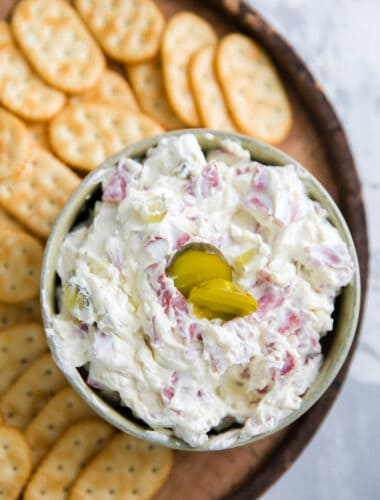 dill pickle dip with crackers on the side