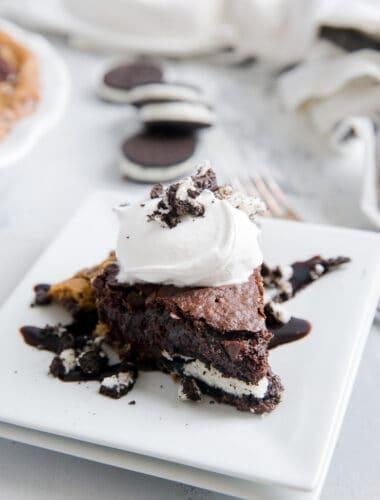slutty brownie pie piece on a plate